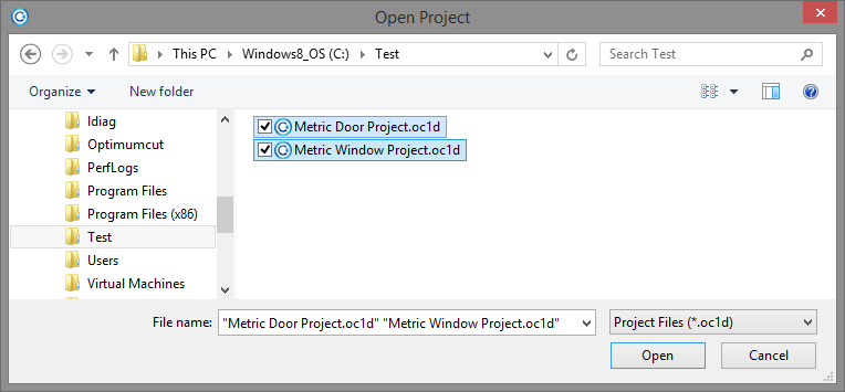 Multiple Project Open Dialog